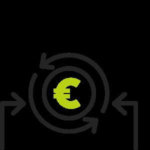 Euro teken met pijlen naar hem toe