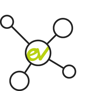 EV logo met connect symbool