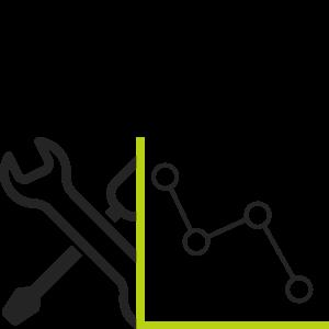 Grafiek met neerwaardse lijn & onderhoud tools
